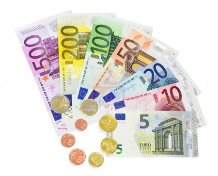 Coins and banknotes euro on white