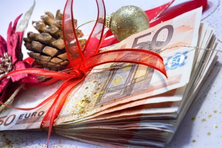 Euro package for gift christmas - closeup