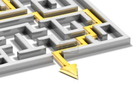 labyrinthe résolu avec flèche or