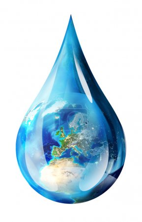 Europe in water drop - isolated