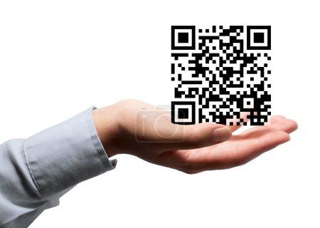 QR code in hand