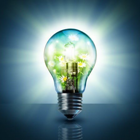 Ecological idea - green in lamp