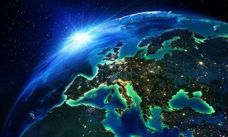 Photo pour Superficie en europe la nuit - image libre de droit