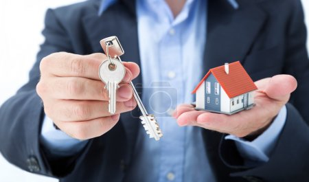 Realtor deliver with house keys
