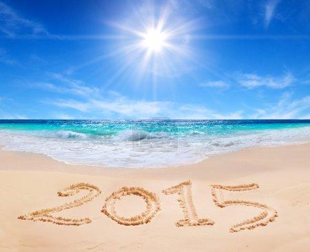 """Word """"2015"""" on the tropical beach"""