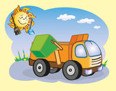 Fun garbage-truck and the sun working together
