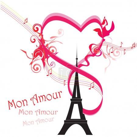 Paris card as symbol of love