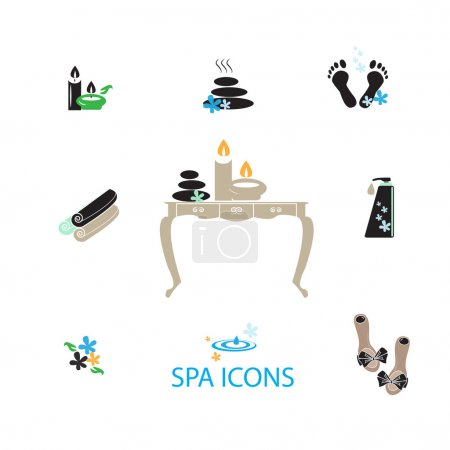 Illustration for Spa icons set for your design - Royalty Free Image
