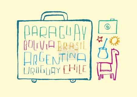 Traveling to South American. A variety of hand-dra...