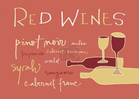 Hand-written words listing different red wines var...