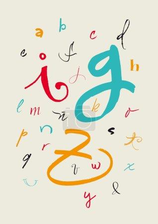 Calligraphic hand written lowercase alphabet