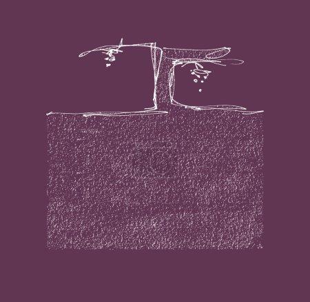 Illustration pour Cépages avec grappes de raisins et de terre. Illustration vectorielle dessinée main. Fichier vectoriel EPS et Hi res JPEG inclus . - image libre de droit