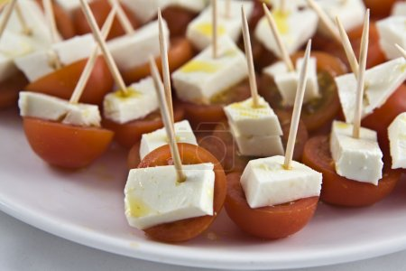 Cherry tomato brochettes detail
