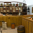 Panoramic shot of and antique grocerys shop with d...