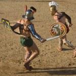 Performing of gladiators fighting of Merida's Amph...