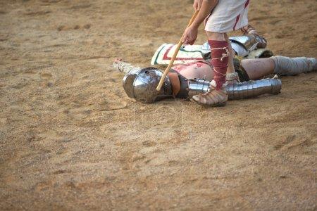 Secutor gladiator on ground
