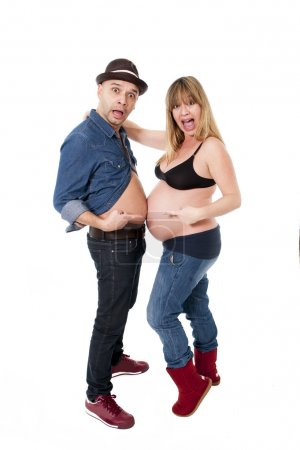 Funny young cool  latin american couple pregnant woman