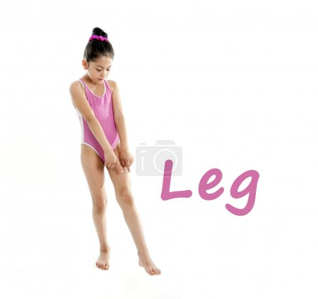 Learning english for children school card of girl pointing at her leg and feet on white background