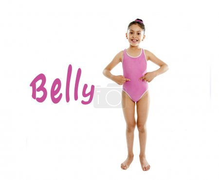 Learning english for children school card of girl pointing at her stomach on white background