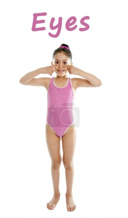 Learning english for children school card of girl pointing at her eyes on white background