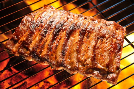 Photo for Grilled pork ribs on the grill. - Royalty Free Image