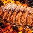 Grilled pork ribs on the grill....