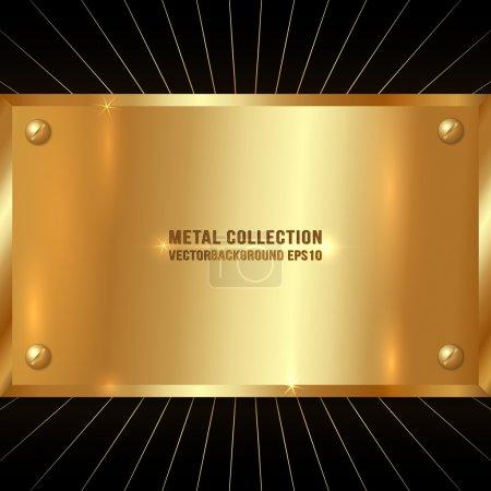 Illustration for Vector Metallic Golden Plate On Black Background - Royalty Free Image