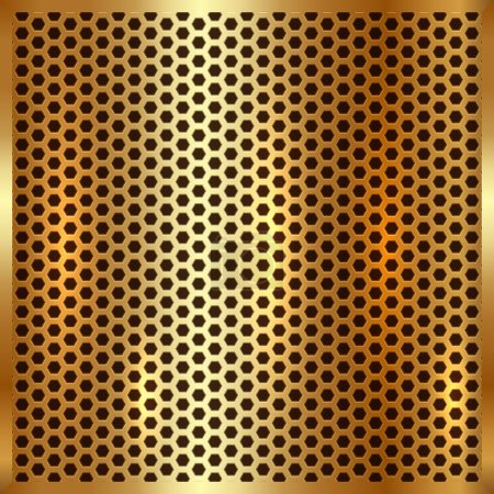 Illustration for Vector metallic gold cell grid background texture - Royalty Free Image
