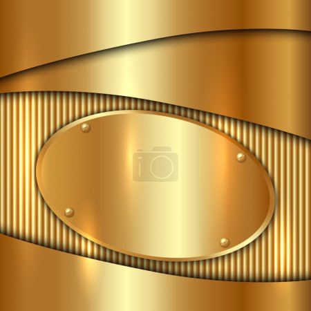 Illustration for Vector metallic gold decorative background with oval plate - Royalty Free Image
