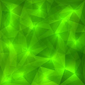 Vector abstract green geometric background with triangles and sunlight particles