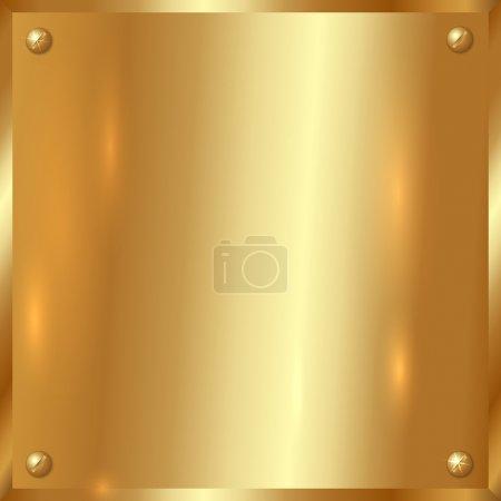 Vector golden plate with screws