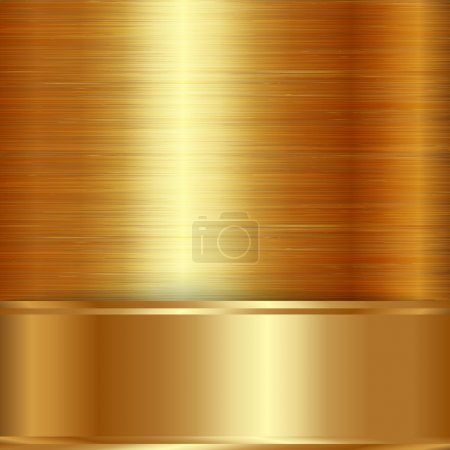Illustration for Vector gold brushed metallic plaque background texture - Royalty Free Image