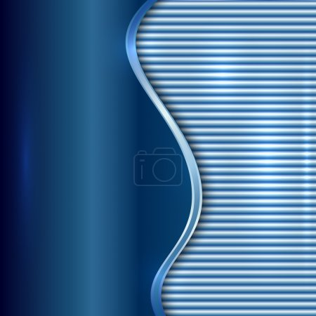Illustration for Vector abstract blue metallic background with curve and stripes - Royalty Free Image
