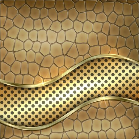 Illustration for Vector metallic leather decorative background with gold, cells and curve - Royalty Free Image