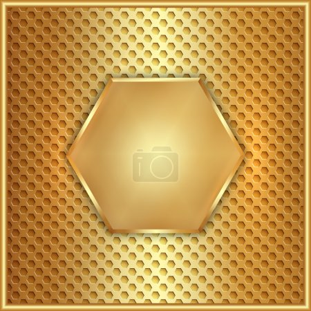 Illustration for Vector abstract wide metal gold hexagon element - Royalty Free Image