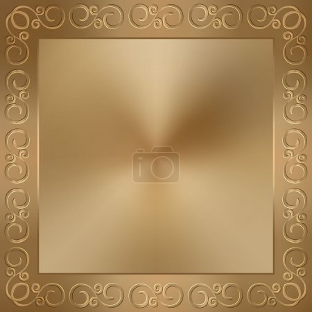 Illustration for Vector copper or old gold metallic square background with frame and swirles - Royalty Free Image