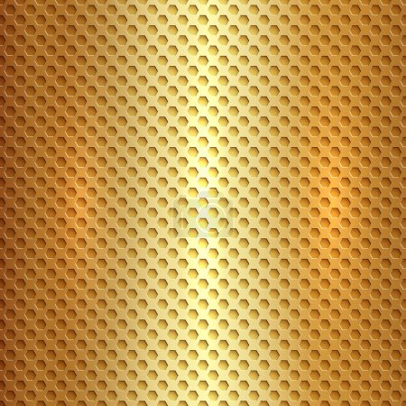 Illustration for Vector abstract metallic gold hexagon cell grid - Royalty Free Image