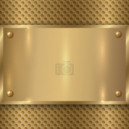 Illustration for Vector abstract metal old gold plate on the metallic cell grid - Royalty Free Image
