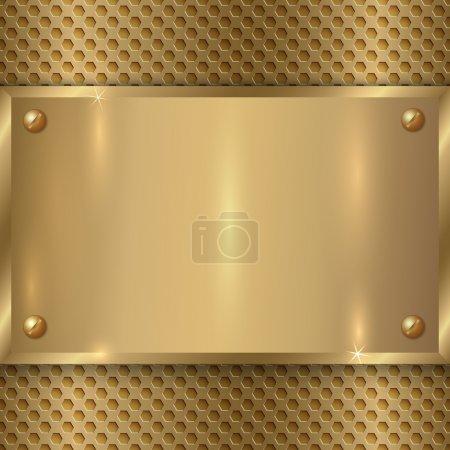 Illustration pour Vecteur abstrait métal vieille plaque d'or sur la grille de cellules métalliques - image libre de droit