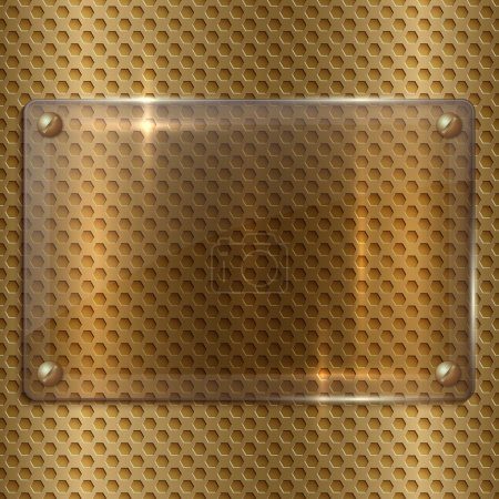 Illustration for Vector abstract glass plate on the metallic gold cell grid - Royalty Free Image