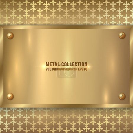 Illustration for Vector abstract metal old gold plate on the metallic ornament background - Royalty Free Image