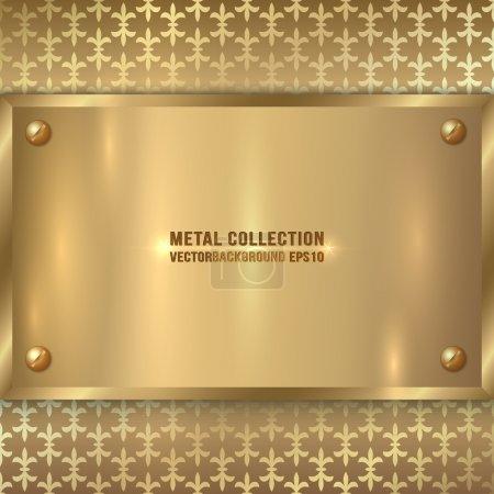 Illustration pour Vecteur abstrait métal vieille plaque d'or sur le fond de l'ornement métallique - image libre de droit
