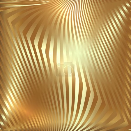 Illustration for Vector abstract  golden metallic background with zigzag stripes - Royalty Free Image