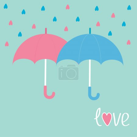 Pink and blue umbrellas.