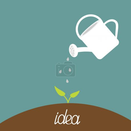 Watering can and plant. Growing idea concept.