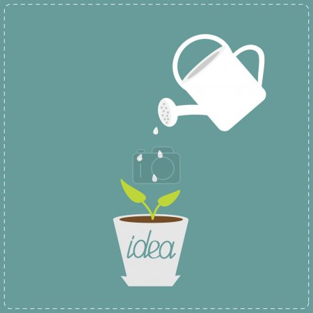 Watering can and plant in the pot. Growing idea concept.