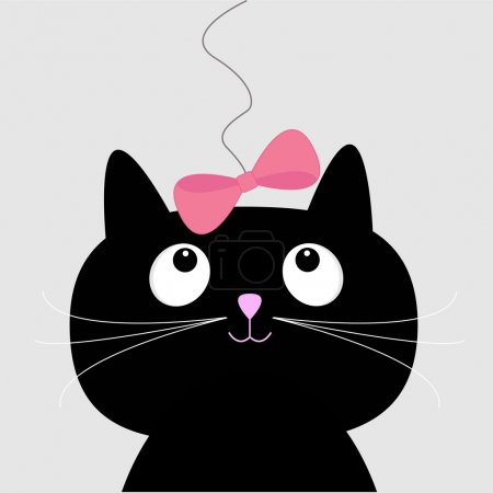 Illustration for Cute cartoon black cat. Card. Vector illustration. - Royalty Free Image