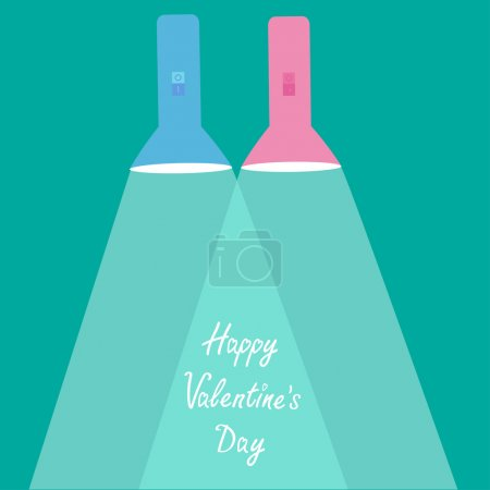 Illustration for Pink flashlights with rays of light. Flat design. Happy Valentines Day card. Vector illustration - Royalty Free Image