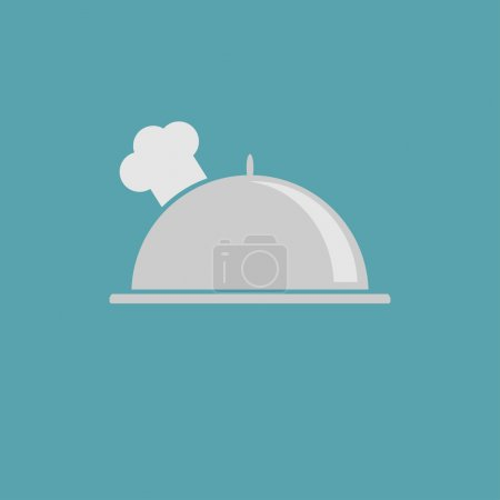 Illustration for Silver platter cloche and chefs hat icon. Vector illustration. - Royalty Free Image