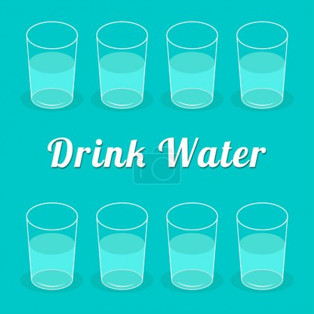 Drink more  water. Glasses set. Infographic. Flat design.